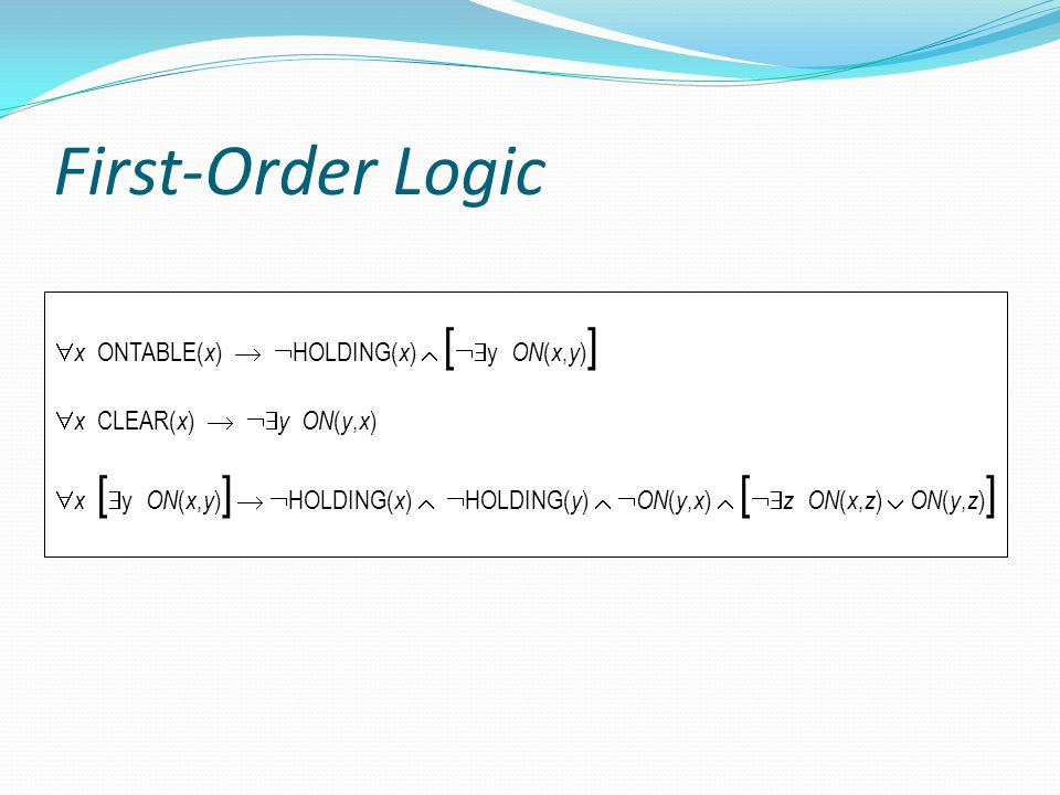 First-Order Logic x ONTABLE(x)  HOLDING(x)  [y ON(x,y)]